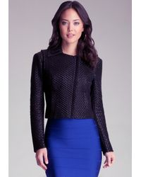 Bebe Black Rachel Weave Leather Jacket