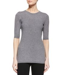Vince - Gray Slim-fit Ribbed Crewneck Sweater - Lyst