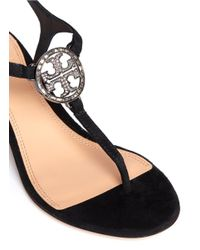 Tory Burch Black 'violet' Crystal T-strap Suede Sandals
