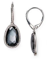 Nadri Metallic Sterling Silver And Hematite Drop Earrings
