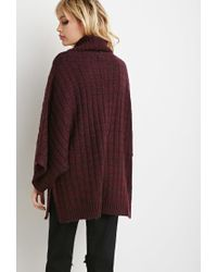 Forever 21 - Purple Marled Knit Turtleneck Poncho - Lyst