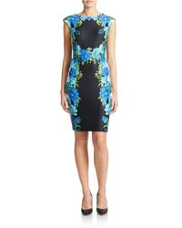 Chetta B | Blue Sleeveless Flowered Sheath | Lyst