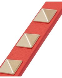 Valentino Red Thin Rockstud Leather Bracelet