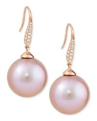 Belpearl - Aura Diamond & Pink Kasumiga Pearl Earrings - Lyst