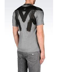 Emporio Armani - Gray Brush Stroke Print T-shirt for Men - Lyst