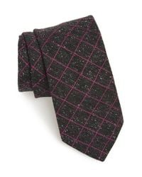 Ted Baker | Gray Windowpane Silk Blend Tie for Men | Lyst