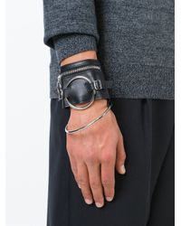 Raf Simons - Black Leather Cuff for Men - Lyst