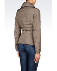 Armani Jeans | Gray Down Jacket In Technical Fabric With Detachable Collar | Lyst