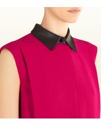 Gucci Pink Fuchsia Silk Dress With Leather Collar