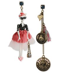 Betsey Johnson - Multicolor Gold-Tone Kitty & Coin Mismatch Earrings - Lyst
