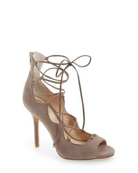Vince Camuto | Brown 'Sandria' Lace Up Peep Toe Sandal | Lyst