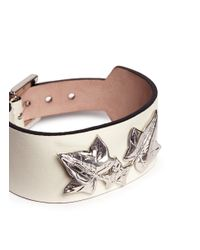Alexander McQueen - White Ivy Leaf Leather Bracelet - Lyst