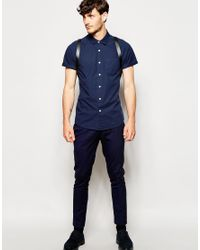 ASOS - Blue Shirt In Short Sleeve With Popper Fastening for Men - Lyst