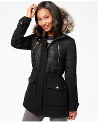 BCBGeneration | Black Faux-fur-trim Mixed-media Puffer Coat | Lyst