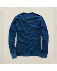 RRL | Blue Dotprint Indigo Henley for Men | Lyst