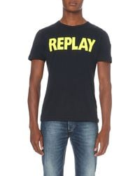 Replay | Blue Logo-print Cotton-jersey T-shirt for Men | Lyst