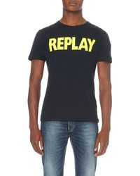Replay - Blue Logo-print Cotton-jersey T-shirt for Men - Lyst