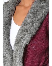 Bebe Purple Faux Fur Collar Sweater