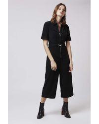 TOPSHOP - Black Moto Cord Culotte Jumpsuit - Lyst