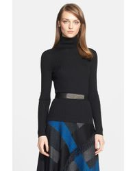 St. John | Black Cable Knit Turtleneck Sweater | Lyst