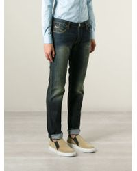 Armani Jeans - Blue Faded Rip Detail Jeans for Men - Lyst