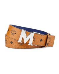 MCM Brown Reversible M-Buckle Monogram Belt for men