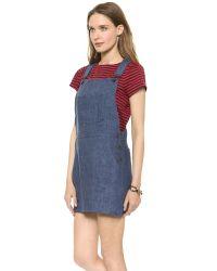 MILLY Blue Shortall Dress - White
