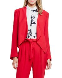 Vince Camuto | Red Drape-Front Crepe Jacket | Lyst