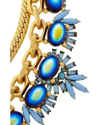 Elizabeth Cole Blue Goldplated Crystal and Cabochon Necklace