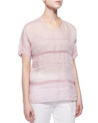 Vince - Pink Lace-stripe Voile Top - Lyst