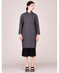 Toast Gray Wool/linen Jacquard Coat
