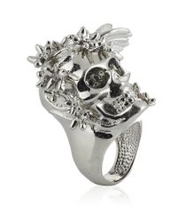 Alexander McQueen - Metallic Silver Flower Skull Cocktail Ring - Lyst