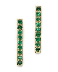Jennifer Meyer Green Diamond Long Bar Stud Earrings Ruby