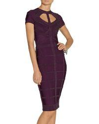 Hervé Léger Purple Stingray Effect Bandage Dress