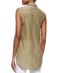 Helmut Lang Brown Sleeveless Cotton-Silk Top