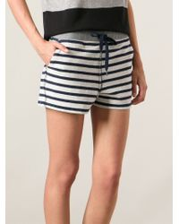 T By Alexander Wang - Blue Striped Shorts - Lyst