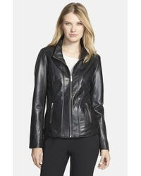Lamarque - Black Funnel Collar Leather Jacket - Lyst
