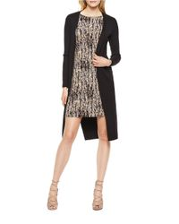 Vince Camuto | Black Ribbed Long Sleeved Duster | Lyst