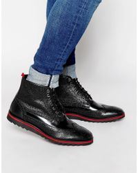 ASOS - Brogue Boots In Black Leather With Red Pull Tab for Men - Lyst