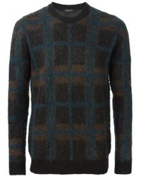 Roberto Collina - Blue Checked Sweater for Men - Lyst
