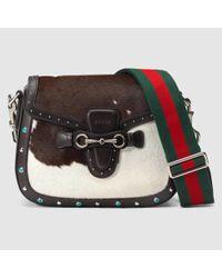 c54d58b0591 Lyst - Gucci Lady Web Calf Hair Shoulder Bag in Brown