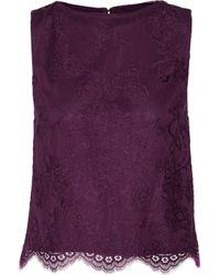 Alice + Olivia Purple Amal Lace Top