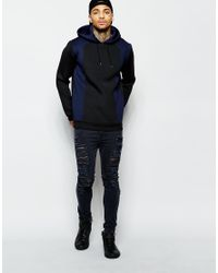 Men's Blue Scuba Hoodie With Cut & Sew Panels