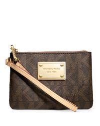 MICHAEL Michael Kors | Brown Jet Set Leather Logo Small Wristlet | Lyst