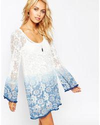 ASOS - Blue Ombre Lace Dress With Pom Pom Hem - Lyst