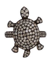 Munnu | Metallic Pave Diamond Turtle Ring | Lyst