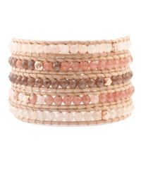 Chan Luu | Metallic Pink Mix Wrap Bracelet With Rose Gold On Beige Leather | Lyst