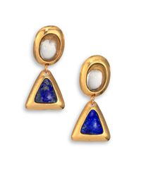Stephanie Kantis | Metallic Crush Smoky Topaz & Lapis Triangle Drop Earrings | Lyst