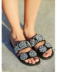 Free People | Black Jeffrey Campbell + Womens Surface Glitter Sandal | Lyst
