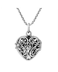 Aeravida | Metallic Romantic Filigree Heart Locket Sterling Silver Necklace | Lyst